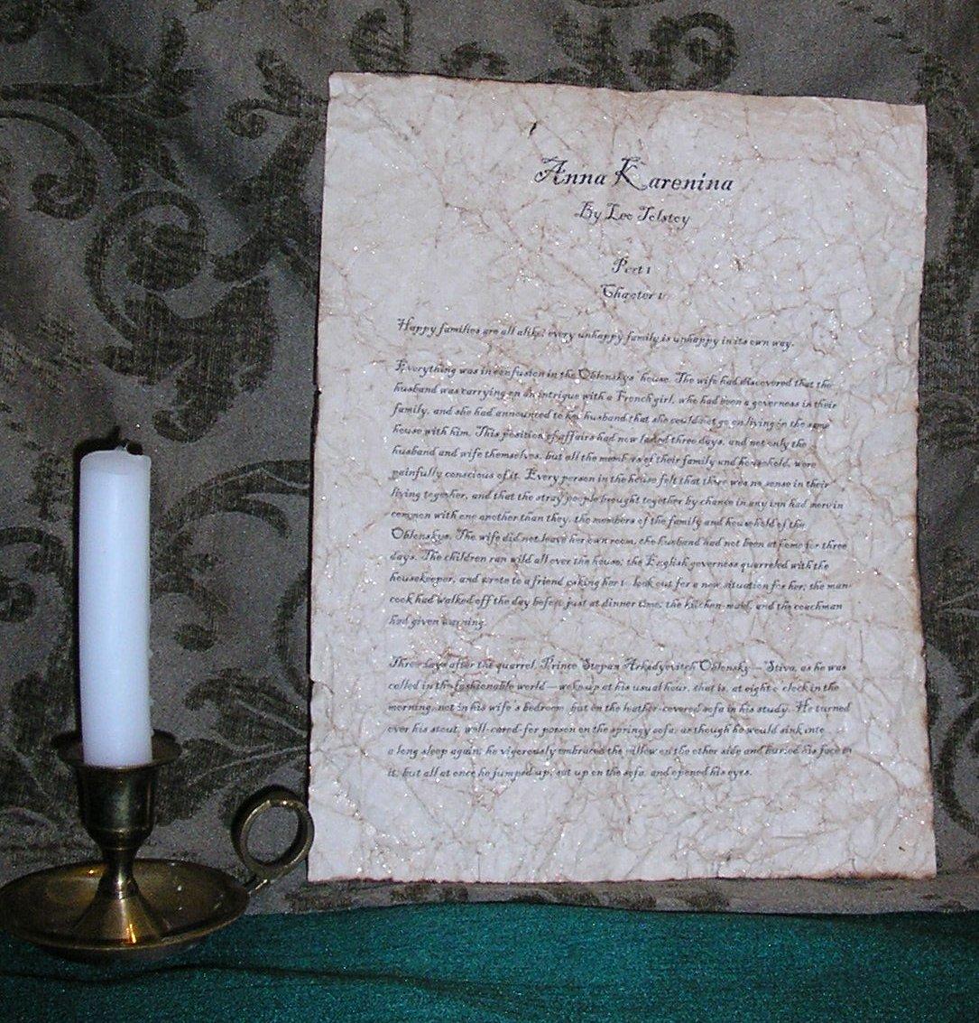 Anna Karenina - Antiqued First Page