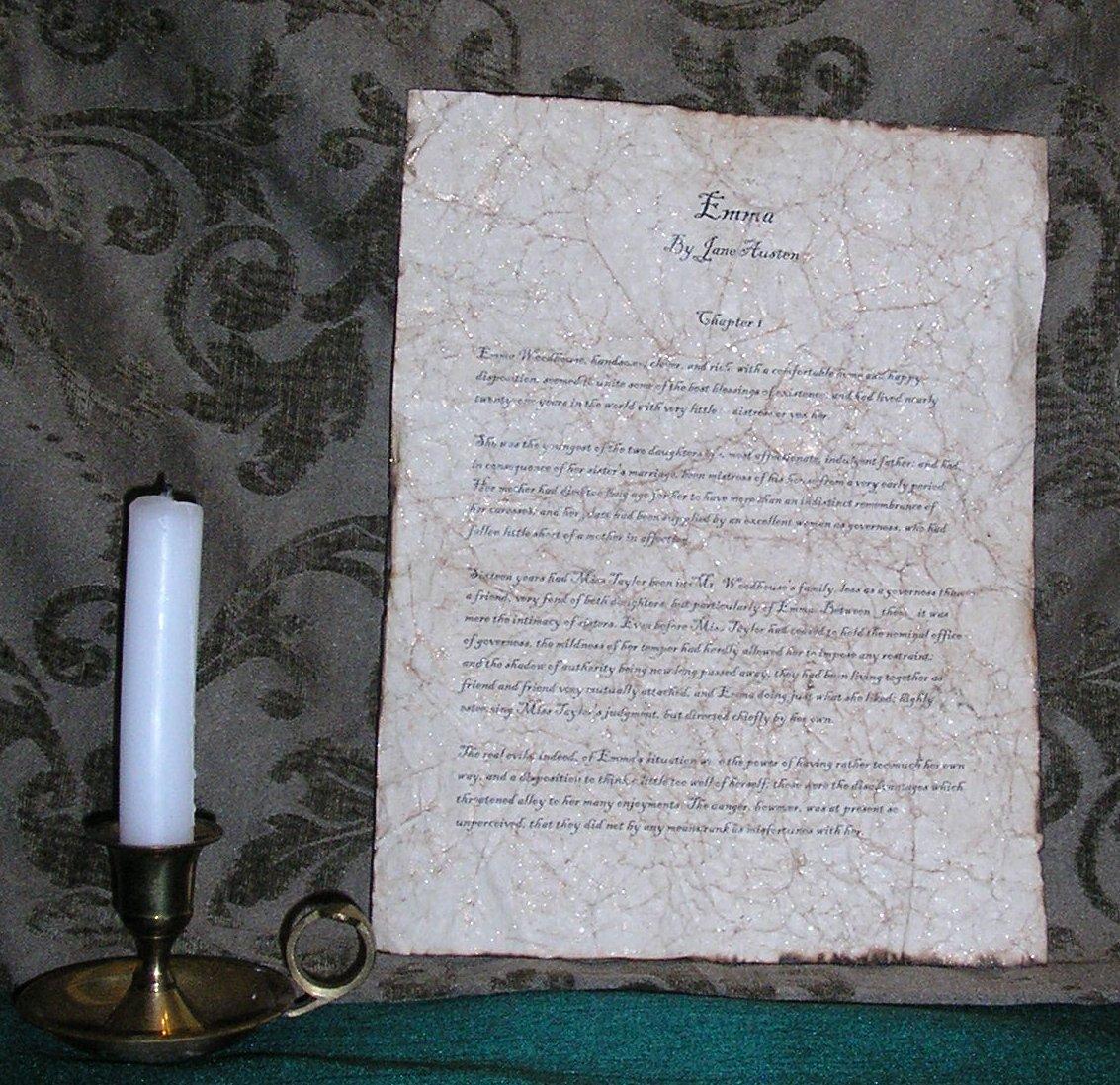 Emma - Antiqued First Page - Jane Austen